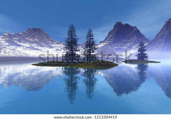 Coniferous trees, 3d rendering, an alpine landscape, reflection on the lake's waters, snowy mountains and a blue sky.