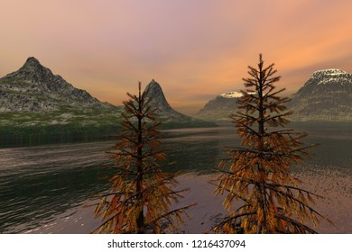 Coniferous trees, 3d rendering, an autumn landscape, beautiful waters in the lake, snowy mountain peaks and orange clouds in the sky.