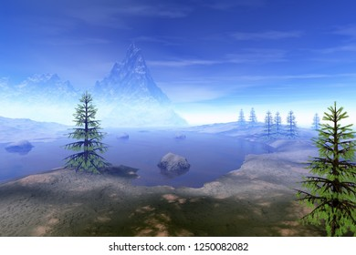Coniferous trees, 3d rendering, a beautiful  landscape, stones in the lake, a snowy mountain and a blue sky.