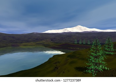 Coniferous trees next to the river, 3d rendering, a natural landscape, grass on the ground, a snowy mountain and clouds in the sky.