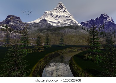 Coniferous trees next to the river, 3d rendering, an alpine landscape, snowy mountains and birds in the sky.