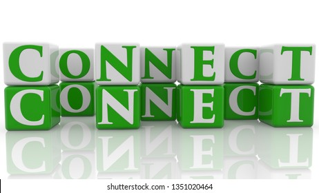 Connect concept on cubes in green and white.3d illustration