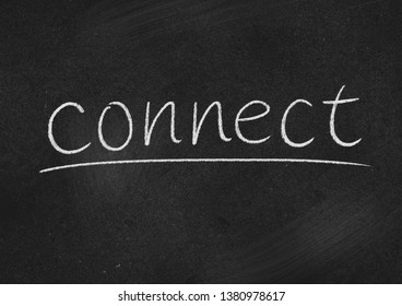 connect concept word on a blackboard background