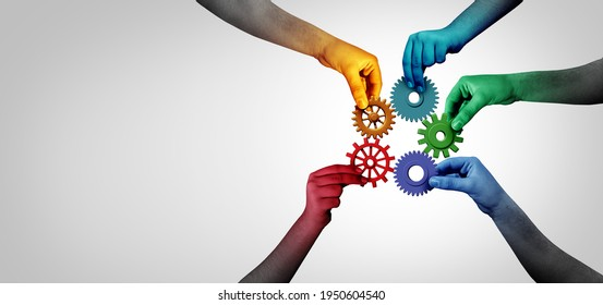 Connect team concept and unity or teamwork idea as a business metaphor for joining a partnership as diverse people connected together with 3D illustration elements..