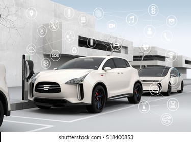 Connected cars and autonomous cars concept. 3D rendering image.