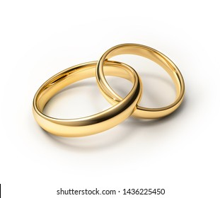 Connected wedding rings isolated on white - 3D illustration