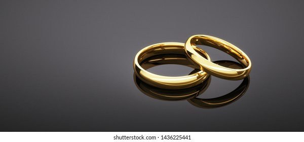 Connected wedding rings on a dark background - 3D illustration