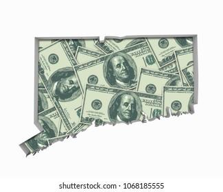 Connecticut CT Money Map Cash Economy Dollars 3d Illustration
