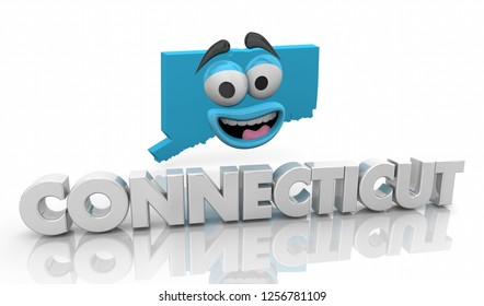 Connecticut CT State Map Cartoon Face Word 3d Illustration