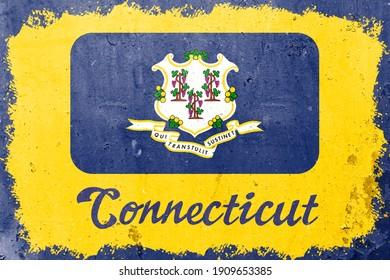 Connecticut state flag vintage road tin sign rusty board. Retro grunge flag of Connecticut decor background.