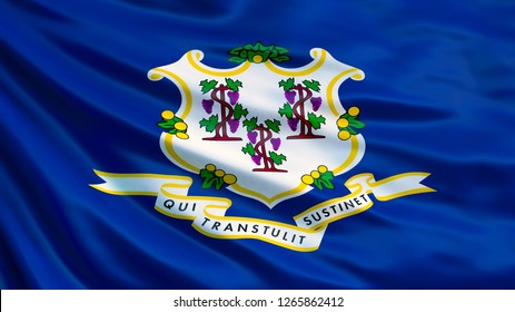 Connecticut state flag. Waving flag of Connecticut state, United States of America. 3d illustration