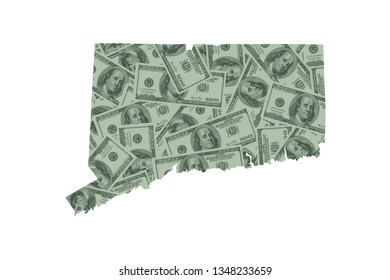 Connecticut State Map and Money Concept, Hundred Dollar Bills
