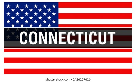 Connecticut state on a USA flag background, 3D rendering. United States of America flag waving in the wind. Proud American Flag Waving, US Connecticut state . US symbol and American Connecticut backgr