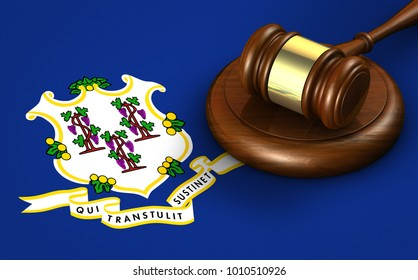 Connecticut US state law, legal system and justice concept with a 3d rendering of a gavel on the Connecticutian flag on background.