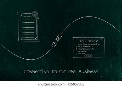 connecting talent and business concept: university degree and job offer with plug in between them