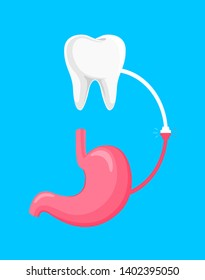 Connection between human tooth and stomach concept.  Oral health is directly connected to digestive health. Vector Illustration design isolated on blue background.
