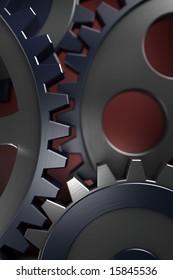 Connection concept. 3d gears.