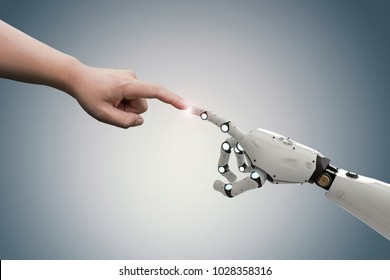 connection concept with human finger connect to 3d rendering robot finger
