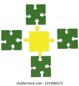 Connection concept of puzzle in green and yellow.3d illustration