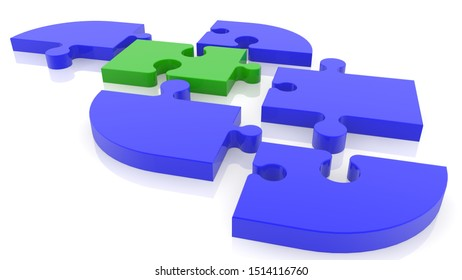 Connection concept of puzzle pieces in blue and green colors.3d illustration