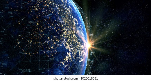 Connection lines Around Earth, Blockchain network concept. Futuristic Technology Theme Background with Light Effect. Some elements of the image provided by NASA. 3D Rendering/Global International