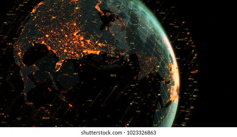 Connection lines Around Earth Globe, Blockchain network concept. Futuristic Technology Theme Background with Light Effect. 3D Rendering/Global International Connectivity Background