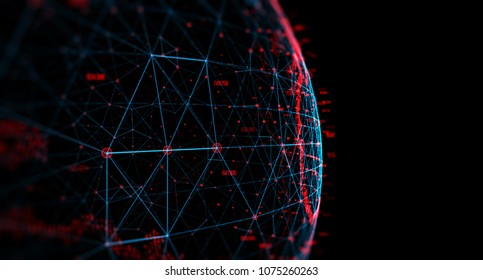 Connection lines Around Earth Globe, Theme Background with Light Effect. Earth from space at night with a digital communication system. 3D rendering/Global International Connectivity Background