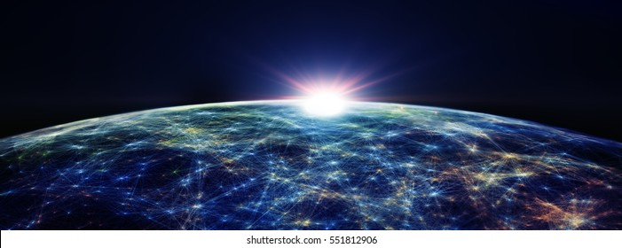 Connection lines Around Earth Globe, Futuristic Technology Theme Background with Light Effect, 3D illustration/Global International Connectivity Background. 3D illustration