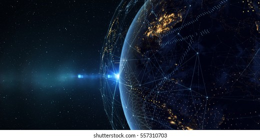 Connection lines Around Earth Globe, Theme Background with Light Effect. Some elements of the image provided by NASA. 3D illustration/Global International Connectivity Background. 3D illustration
