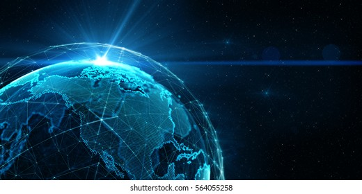 Connection lines Around Earth Globe, Futuristic Technology  Theme Background with Light Effect, 3D illustration/Global International Connectivity Background. 3D Render