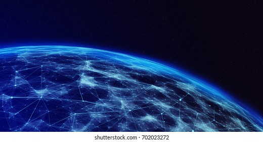 Connection lines Around Earth Globe, Futuristic Technology  Theme Background with Light Effect. 3D illustration/Global International Connectivity Background