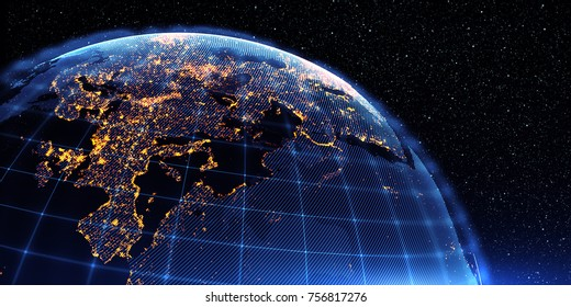 Connection lines Around Earth Globe, Futuristic Technology  Theme Background with Light Effect. 3D Rendering/Global International Connectivity Background