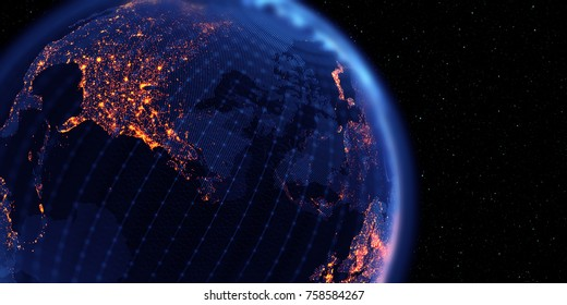 Connection lines Around Earth Globe, Futuristic Technology Theme Background with Light Effect. 3D Rendering