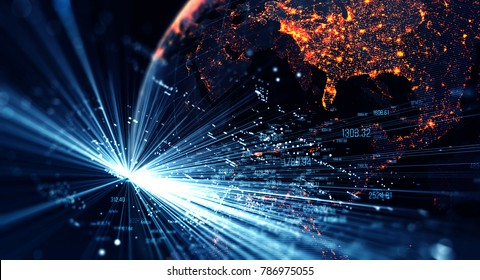 Connection lines Around Earth Globe, Motion of digital data flow. Futuristic Technology Theme Background with Light Effect. 3D Rendering/Global International Connectivity Background