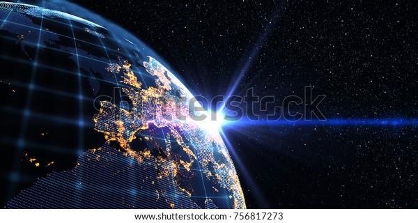 Líneas de conexión alrededor del globo terrestre, Fondo del tema de la tecnología futurista con efecto ligero. Antecedentes de la representación 3D/Conectividad internacional global