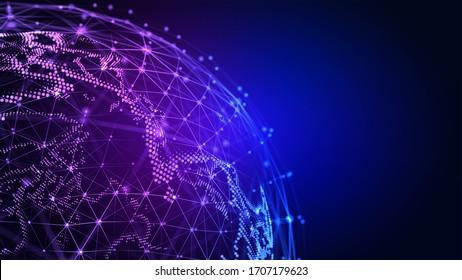 Verbindungsleitungen Globus. Hintergrund mit Lichteffekt. Globale internationale Konnektivität - Hintergrund. 3D-Abbildung.