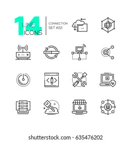 Connection - monochromatic modern single line icons set. Cloud, interlink, power button, folder, drive, key, laptop, check, internet, router.