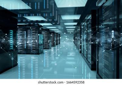 Verbindungsnetzwerk in dunklen Servern Speichersystemen im Rechenzentrum 3D-Rendering