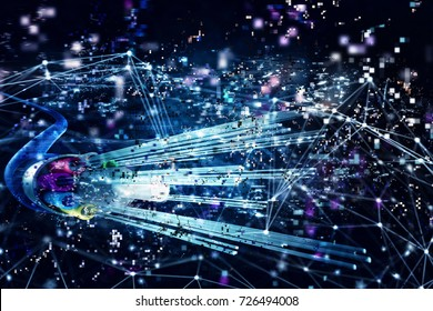 Connection with the optical fiber. Concept of fast internet. 3d render