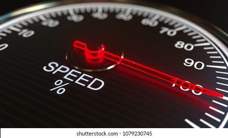 Connection speed meter or indicator. 3D rendering