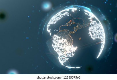 Connections concept over the Earth globe. 3D render
