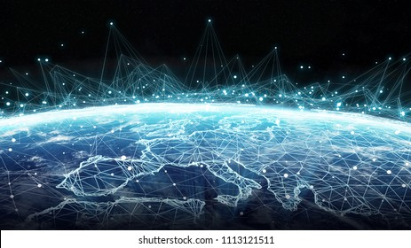Connections system and global datas exchanges over the globe 3D rendering elements of this image furnished by NASA