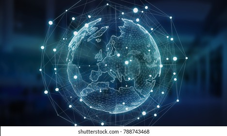 Connections system sphere global world view on server background 3D rendering
