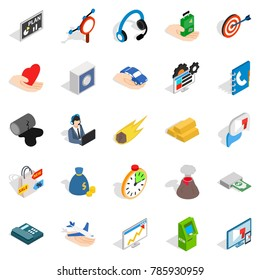 Connexion icons set. Isometric set of 25 connexion  icons for web isolated on white background