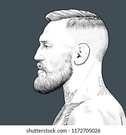 Conor Anthony McGregor. Irish professional mixed martial artist and boxer. Moscow. September, 05, 2018