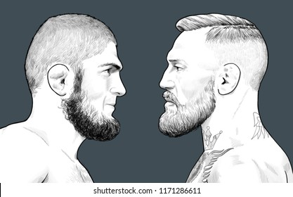 Conor McGregor and Khabib Nurmagomedov Moscow, September, 04, 2018
