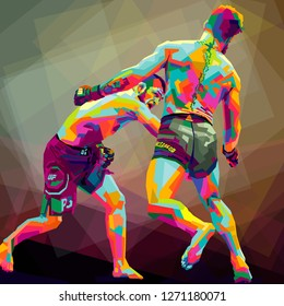 Conor McGregor and Khabib Nurmagomedov on color abstract :indonesia, january, 1, 2019