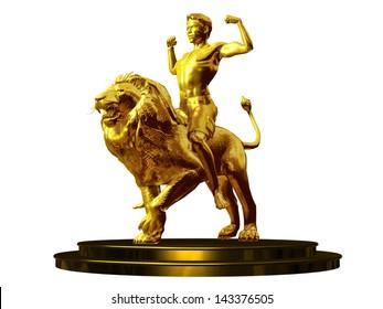 conqueror, golden figurine of a young man riding a lion