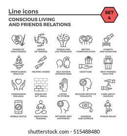Conscious Living and Friends Relations Thin Line Related Icons Set on White Background. Simple Mono Linear Pictogram Pack Stroke  Logo Concept for Web Graphics.