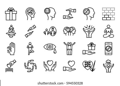 Conscious Living and Friends Relations Thin Line Related Icons Set on White Background. Simple Mono Linear Pictogram Pack Stroke Logo Concept for Web.